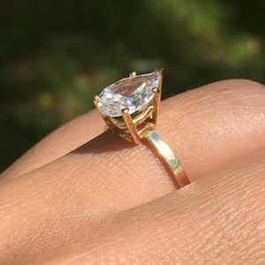 14k Solid Gold Solitaire Pear Engagement Ring